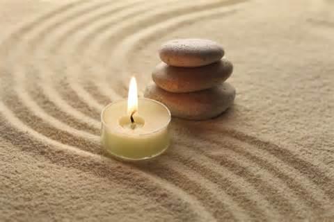 meditation_stones candle sand